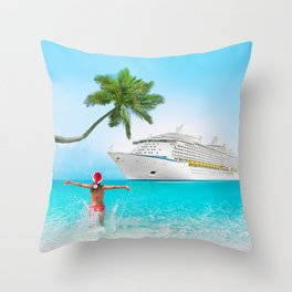 Christmas holidays on Caribbean cruise Throw Pillow