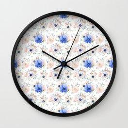 Blue and Pink Garden Flowers Wall Clock