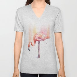 Flamingo Watercolor Flamingo Painting Unisex V-Neck