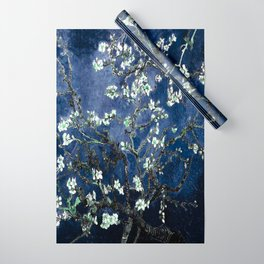 Vincent Van Gogh Almond Blossoms Dark Blue Wrapping Paper