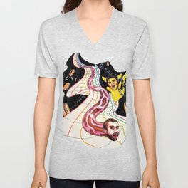 Snake-man and friend in hyper-dimensional curved spacetime Unisex V-Neck