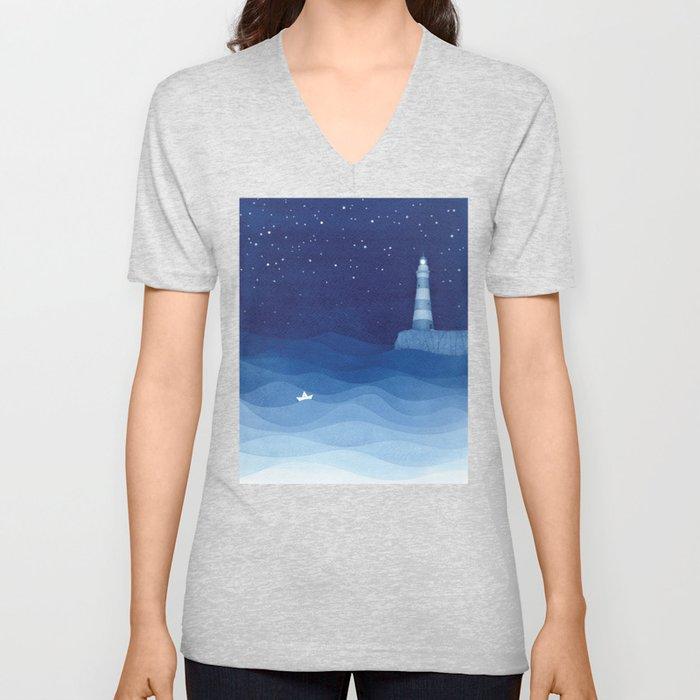 Lighthouse & the paper boat, blue ocean Unisex V-Neck