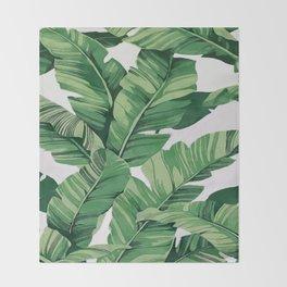 Tropical banana leaves VI Throw Blanket