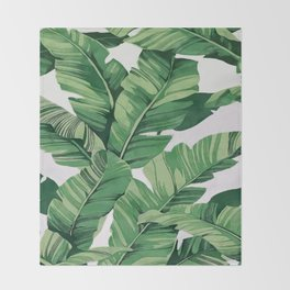 Tropical banana leaves VI Throw Blanket