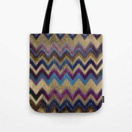 Modern faux gold pink navy blue purple ikat pattern Tote Bag