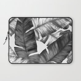 Black And White Tropical Banana Leaves Pattern Laptop Sleeve