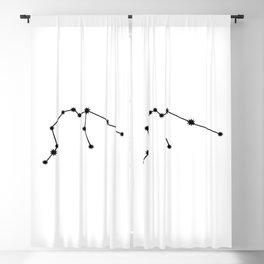 Aquarius Star Sign Black & White Blackout Curtain