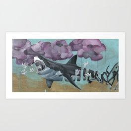 unraveling the great white shark Art Print