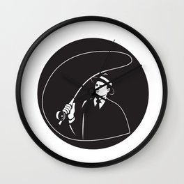 Mobster Suit Tie Casting Fly Rod Circle Retro Wall Clock