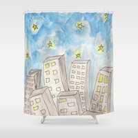 starry night Shower Curtains featuring Starry night by Susan