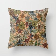 nectar bird garden peach Throw Pillow