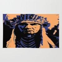 native american Area & Throw Rugs featuring Native American Head Dress  by T.E.Perry