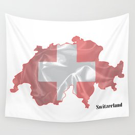 Switzerland Flag Map Wall Tapestry