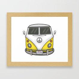 Yellow Camper Van - Hippie Bus Framed Art Print