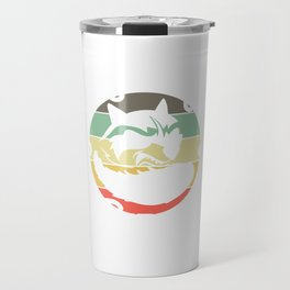 """Retro Tee For Animal Lovers With A Cute Illustration Of A Raccoon """"Support Your Local Street Cats"""" Travel Mug"""