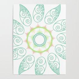 Decorative leaf Mandala Poster