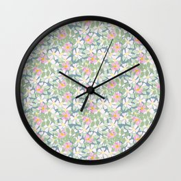 Pink Dogroses on Moody Blue Wall Clock