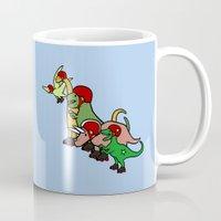 roller derby Mugs featuring Roller Derby Dinosaurs by Jez Kemp