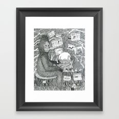 Black and White Sasquatch Framed Art Print