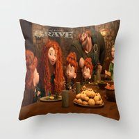 be brave Throw Pillows featuring Brave by store2u