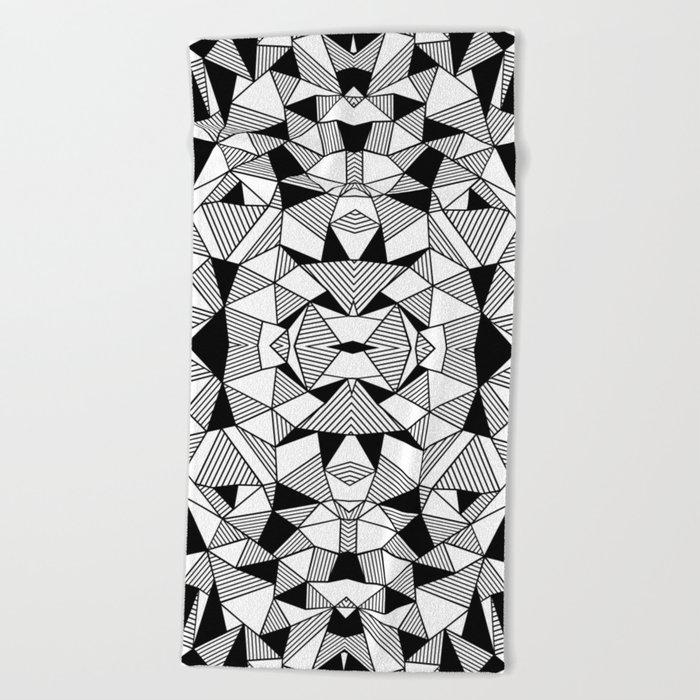 Ab Lines Tile with Black Blocks Beach Towel