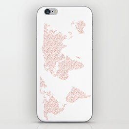 World Map Pink Rose Gold Hearts Love iPhone Skin