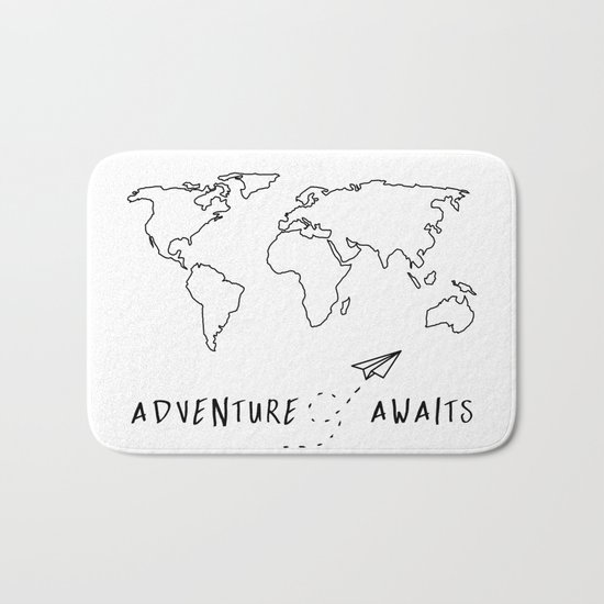 Adventure Map on White Bath Mat