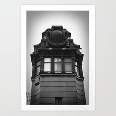 Black and White Top of Chicago River Boat House Photography Art Print
