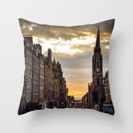 Royal Mile Sunrise in Edinburgh, Scotland Throw Pillow