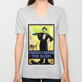 Charlie Chaplin in The Rink, 1916 (Vintage Movie Poster) Unisex V-Neck