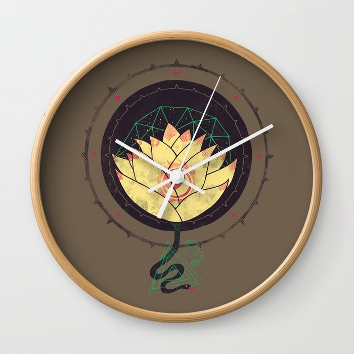 Lotus Wall Clock By Againstbound Society6