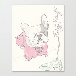 Sweet Frenchie French Bulldog Orchid Love Canvas Print