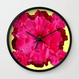 YELLOW FUCHSIA-PINK  DOUBLE  HOLLYHOCK FLOWERS GARDEN Wall Clock