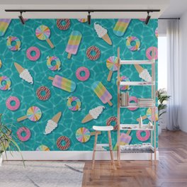 Sweet Treats Pool Floats Pattern – Turquoise Wall Mural