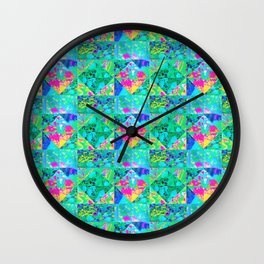 Garden Quilt Painting with Hydrangea and Blues Wall Clock