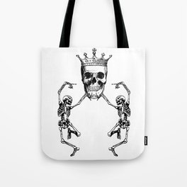 Skull King and Dancing Skeletons | Vintage Skulls | Vintage Skeletons | Black and White | Tote Bag