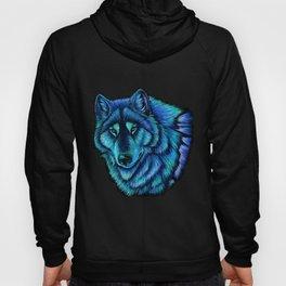 Blue Wolf Aurora Colorful Fantasy Hoody