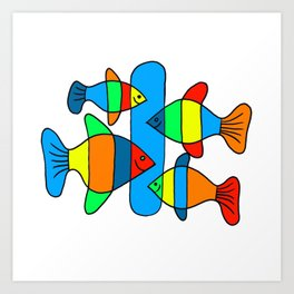 4 Fish - Black lines Art Print