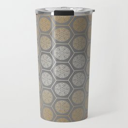 Hexagonal Dreams - Orange Gradient Travel Mug