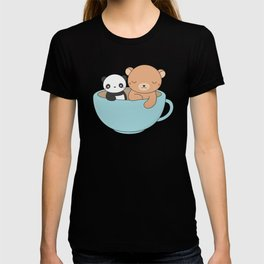 Kawaii Cute Brown Bear and Panda T-shirt