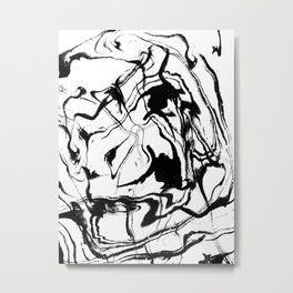 Marbled black and white suminagashi abstract painting japanese spilled ink Metal Print