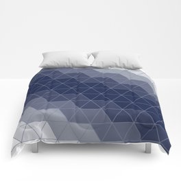 Navy Blue Triangles Minimal Comforters