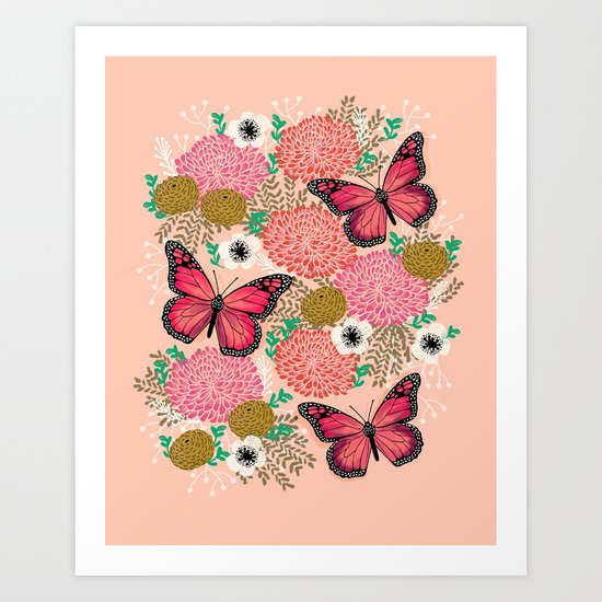 Monarch Florals by Andrea Lauren  Art Print
