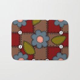Retro Doodle Flower Style Quilt - Dark Red Brown Blue Bath Mat