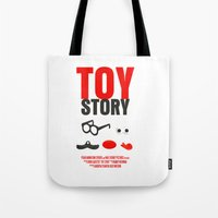 toy story Tote Bags featuring Toy Story Movie Poster by FunnyFaceArt