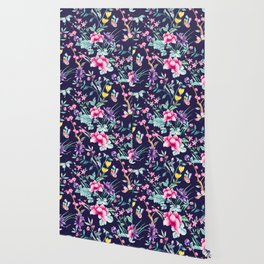 Chinoiserie french navy floral Wallpaper