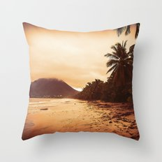 Sunset Sandy Beach Throw Pillow