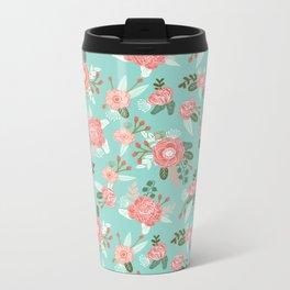 Flowers pastel mint painting watercolor abstract minimal gender neutral florals nursery baby kids Metal Travel Mug
