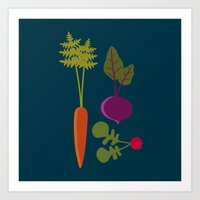 vegetable Art Prints featuring Vegetable Medley by Veronica Galbraith