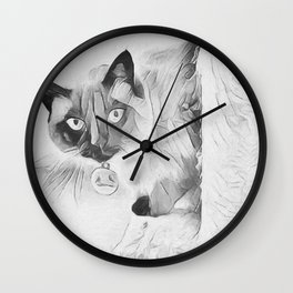 Peek A Boo Kitty Wall Clock
